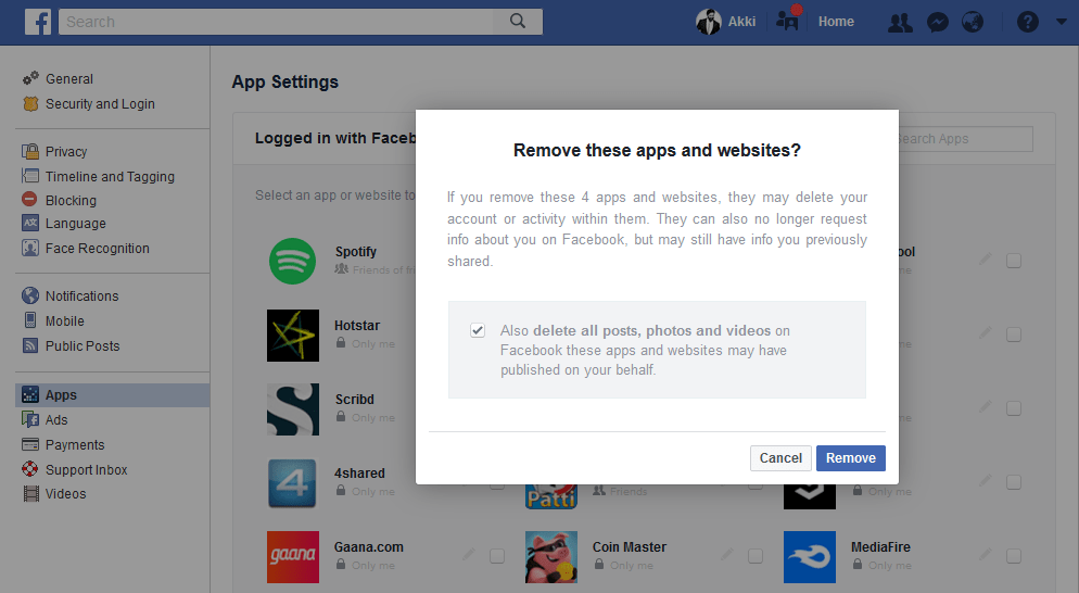 facebook Remove Third-Party Apps