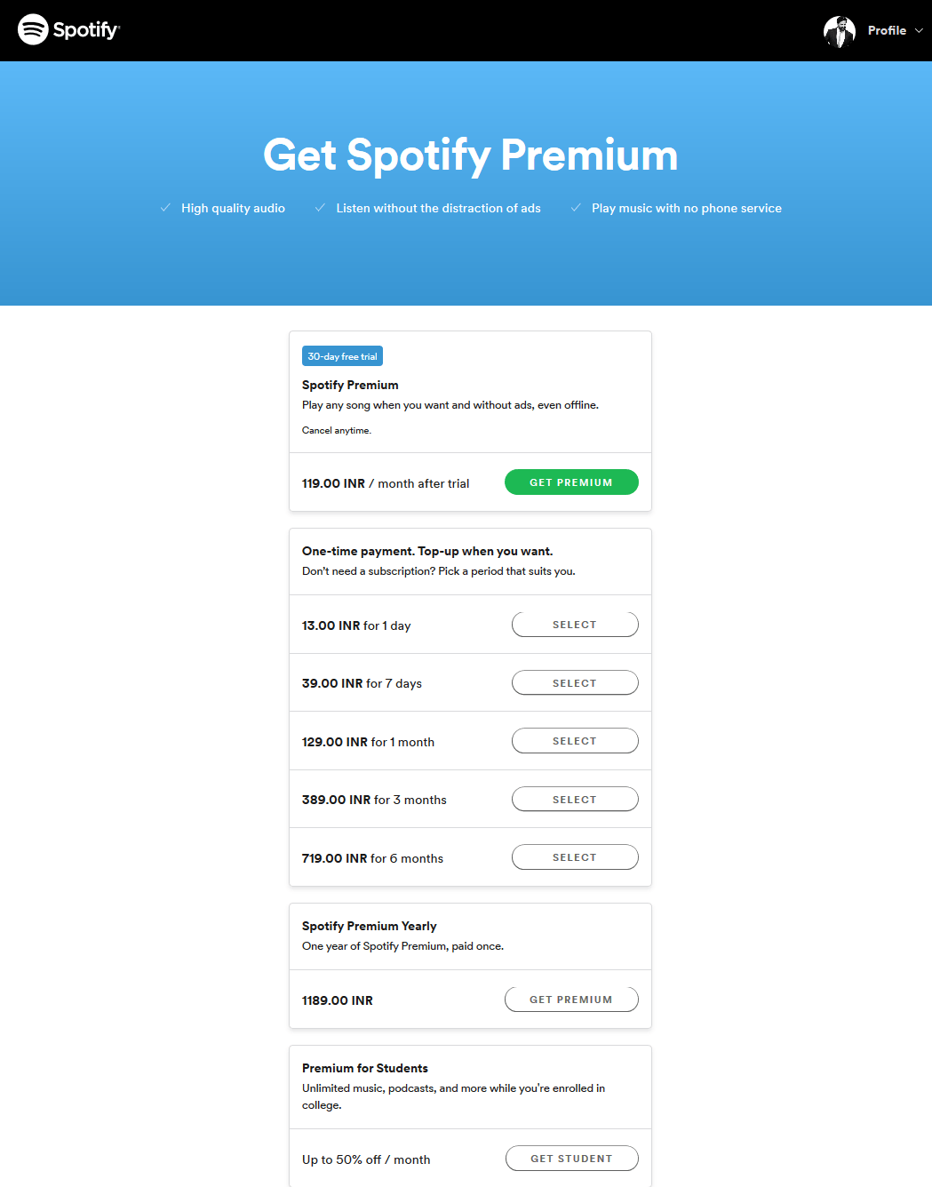 Spotify India Free Trial