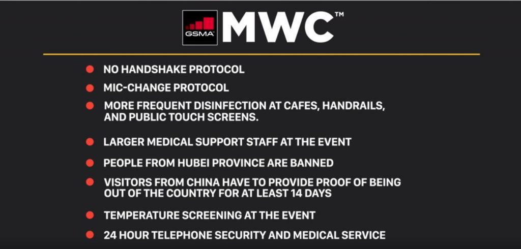 Precautions given by GSMA for the tech lovers to join in for MWBC event in Barcelona for the year 2020!