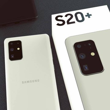 Samsung Galaxy S20+ with its box