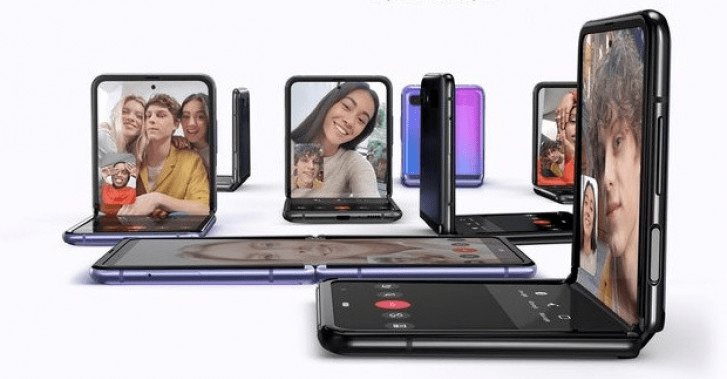 Samsung Z flip's new hinge helps the phone to stay on a table or any surface half folded