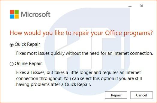 Repair the program
