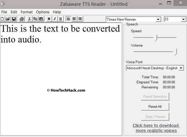 Zabaware Text to Speech Reader