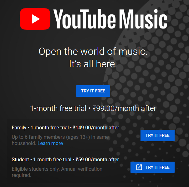 YouTube Music Student Plan