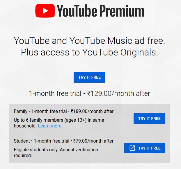 YouTube Premium Student Plan