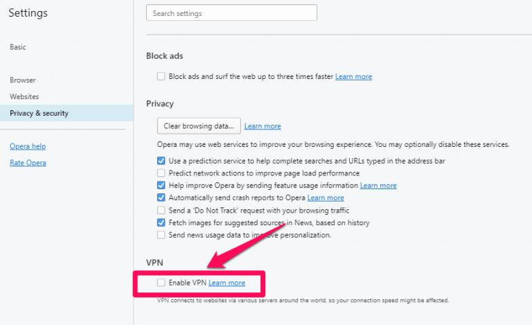 Enable VPN on Opera for Windows
