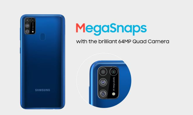 Samsung Galaxy M31 with its Quad Camera configuration with a feature of 64 MP in the main sensor