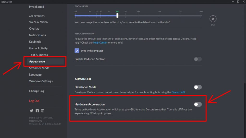Disable Hardware acceleration in Discord