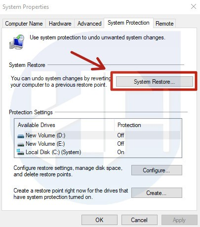 Perform System Restore on Windows 10